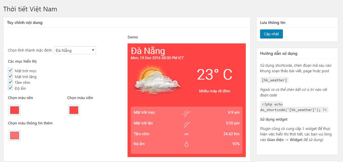 Plugin thời tiết cho wordpress