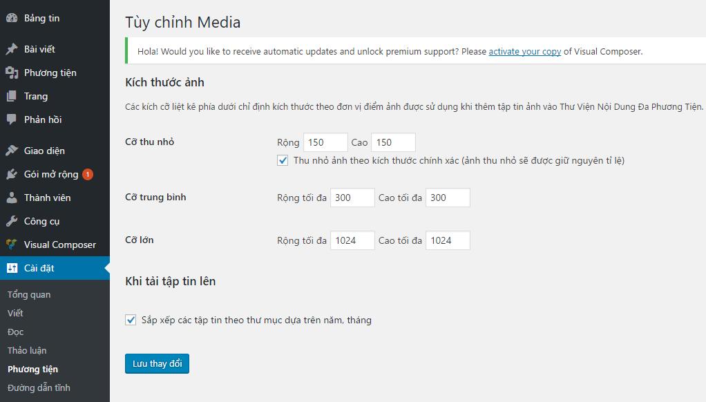 Tùy chỉnh kích thước thumbnail trong wordpress