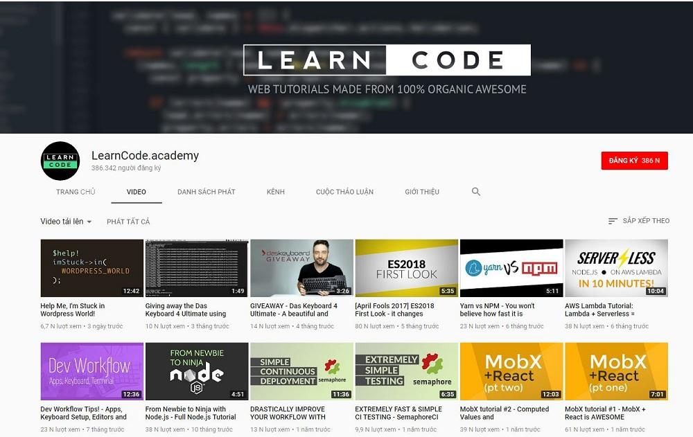 Học lập trình web trên youtube