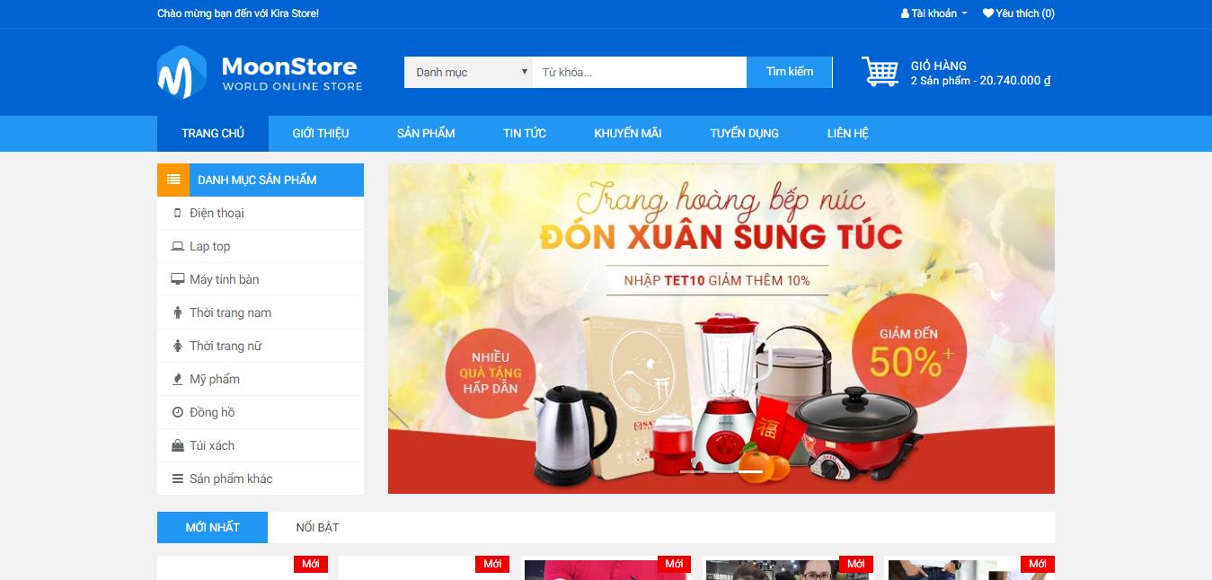 Trang chủ của website bán hàng