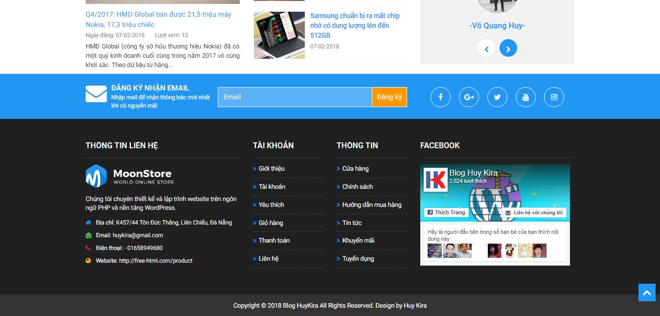 Khu vực footer của website bán hàng