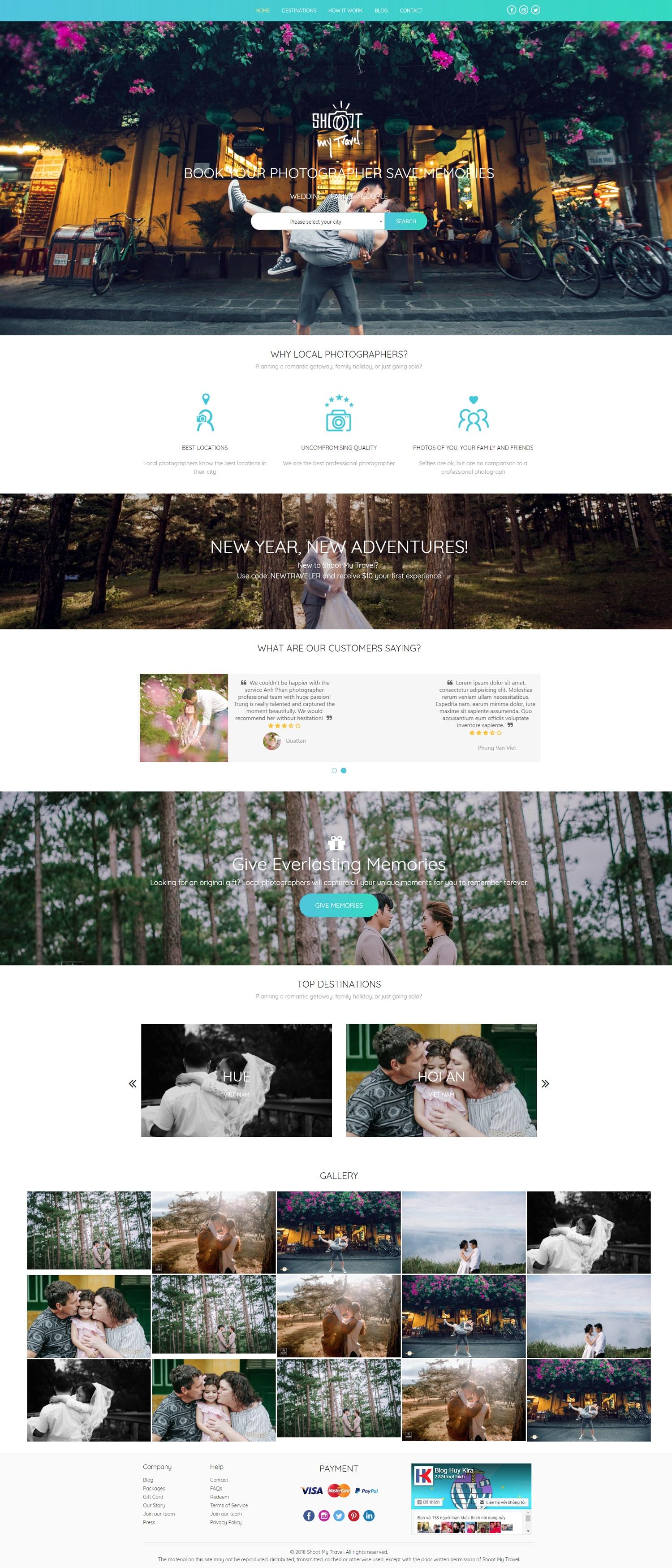 Mẫu website dịch vụ chụp ảnh