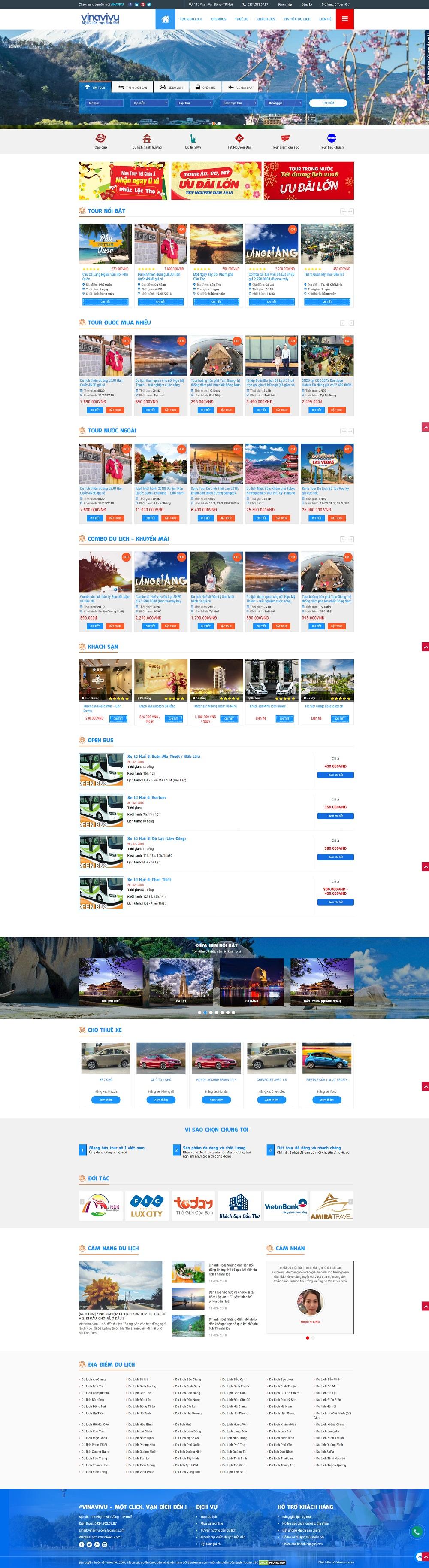 Website dịch vụ du lich VINAVIVU