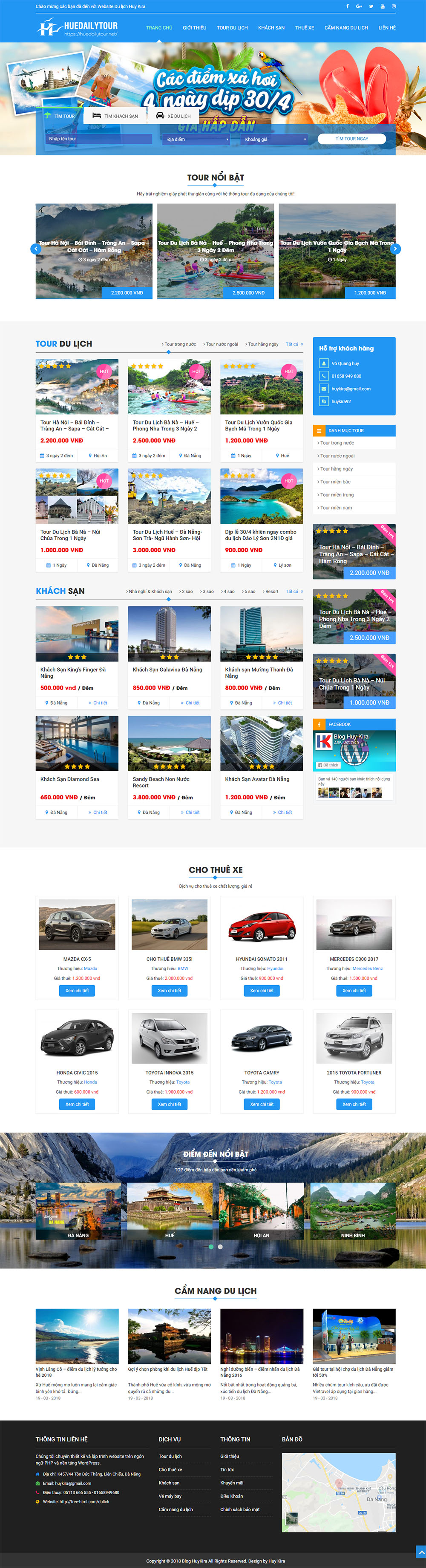Giao diện trang chủ website tour du lịch