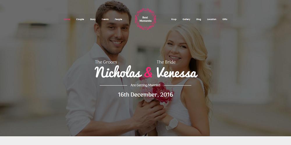 giao diện website đám cưới