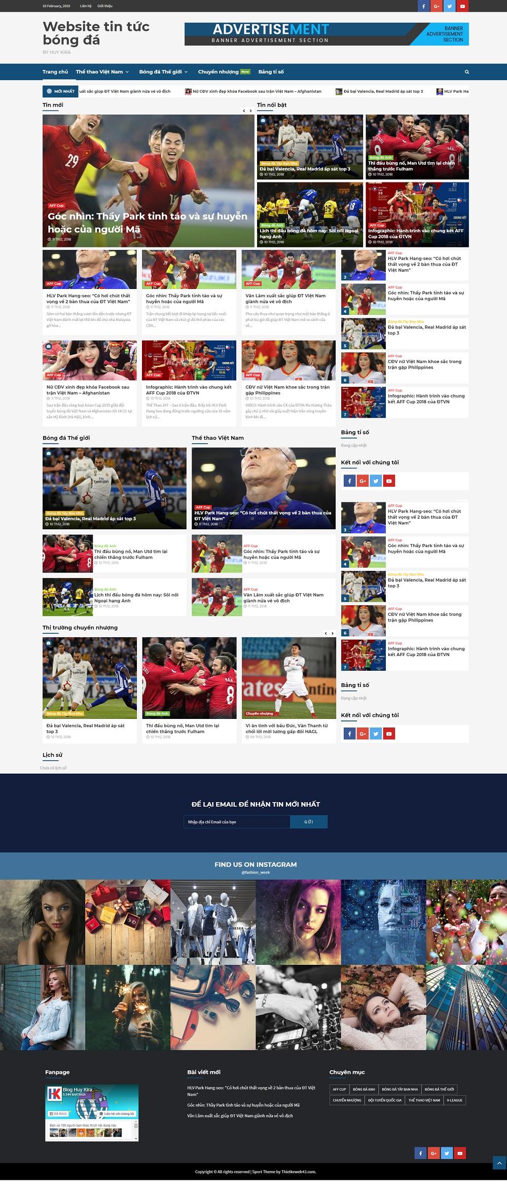 Share full code tin tức bóng đá sử dụng wordpress