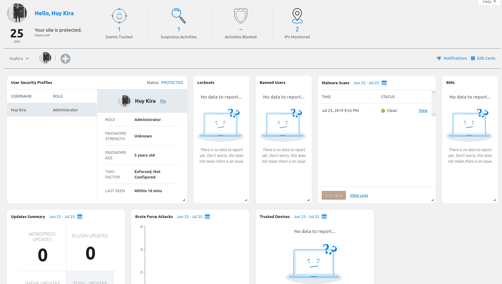 Security Dashboard in iThemes Security Pro