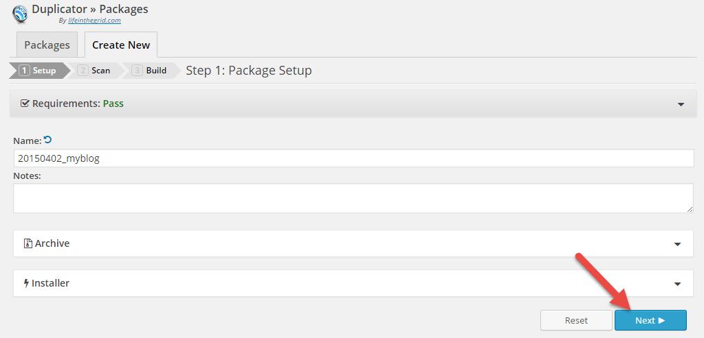 Tạo packages bước 2