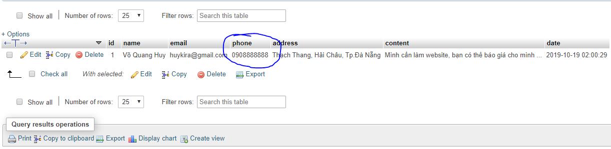 Sửa trong dữ liệu database wordpress