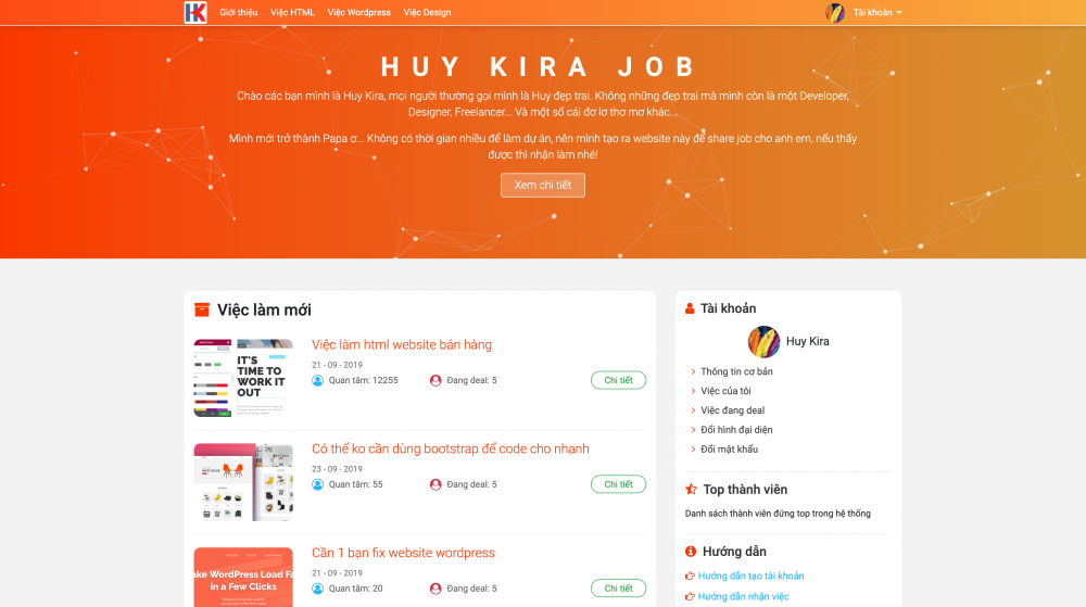 Giới thiệu website job.huykira.net website share việc của Huy Kira